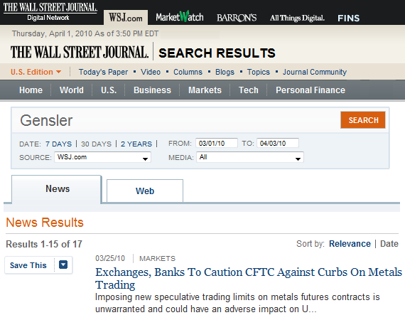 The Wall Street Journal Cover-Up of JPMorgan Chase Gold/Silver Market Manipulation Continues Apace