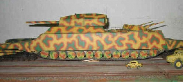 Another model version of the super tank shows how it would have dwarfed ordinary army jeeps