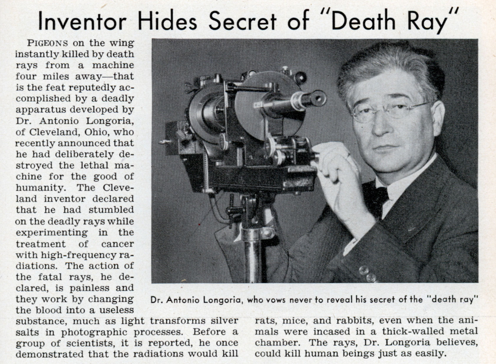 Inventor Hides Secret of 'Death Ray' (Popular Science, 1940) » The ...