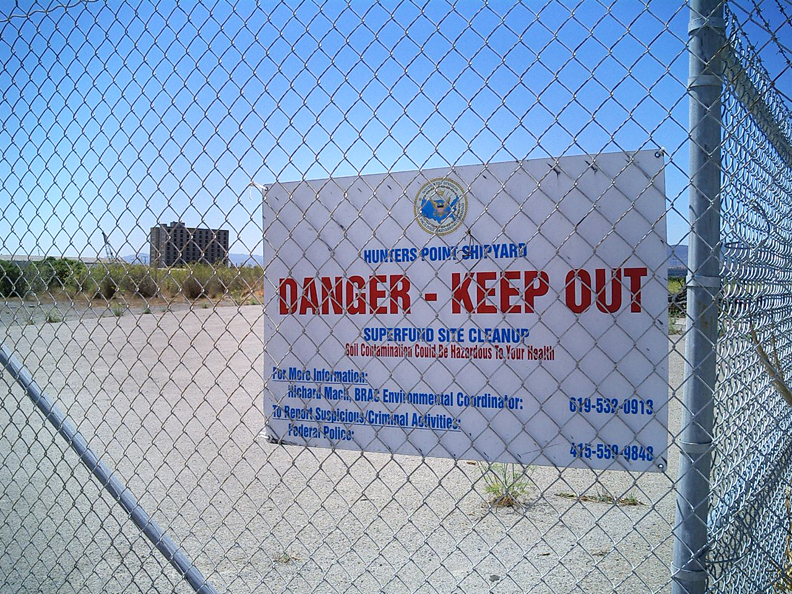 Hunters Point Shipyard Danger Keep Out sign Hot Spots: Radioactive San Francisco