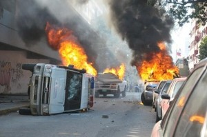 Damage caused by right-wing rioters in Caracas, February 12. Photo from Aporrea.org, via Venezuelanalysis.com.