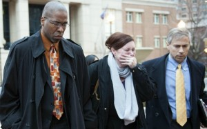 Former CIA officer Jeffrey Sterling, left, leaves the Alexandria Federal Courthouse on Jan. 26 with his wife Holly, center, and attorney Barry Pollack, after being convicted on all nine counts he faced of leaking classified information to a reporter. Photo: Kevin Wolf/AP